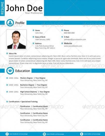 12 best CV images on Pinterest Modern cv template, Resume - modelos de resume
