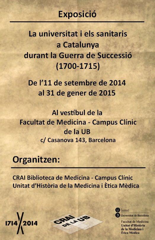 """2014 - Postal de l'Exposició """"La universitat i els sanitaris a Catalunya durant la Guerra de Successió (1700-1714) organitzada pel CRAI Biblioteca de Medicina i la Unitat d'Història de la Medicina i Ètica Mèdica de la UB - Cara B"""