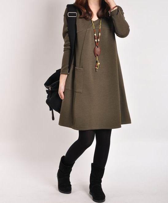 Dark green cotton dress Long sleeve dress cotton tops large dress cotton blouse casual loose dress cotton shirt linen dress plus size dress