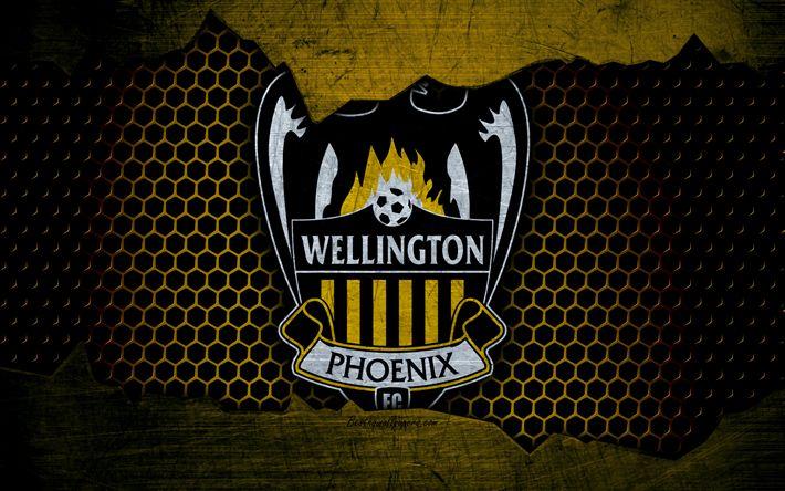 Download wallpapers Wellington Phoenix, 4k, logo, A-League, soccer, football club, Australia, grunge, metal texture, Wellington Phoenix FC
