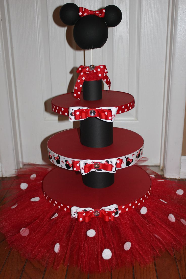 red minnie mouse cupcake holder | Red Minnie Mouse 3 Tier Cupcake/Dessert Tower with Topper