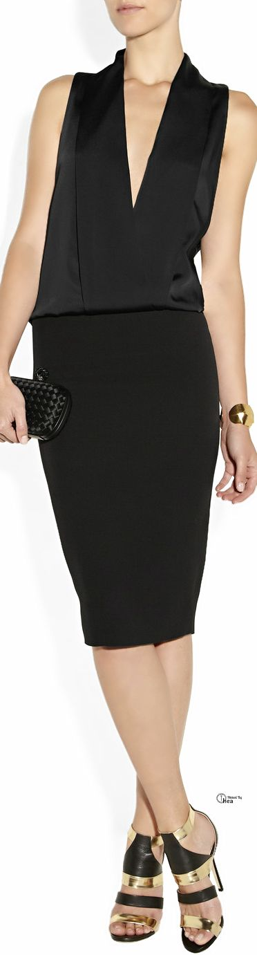 Victoria Beckham ● Satin and crepe tuxedo dress                              …