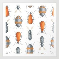 Watercolor forest bugs for your home pattern Art Print