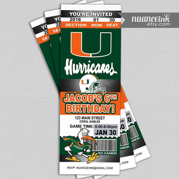 Miami Hurricanes birthday tickets party invitation or by NuanceInk