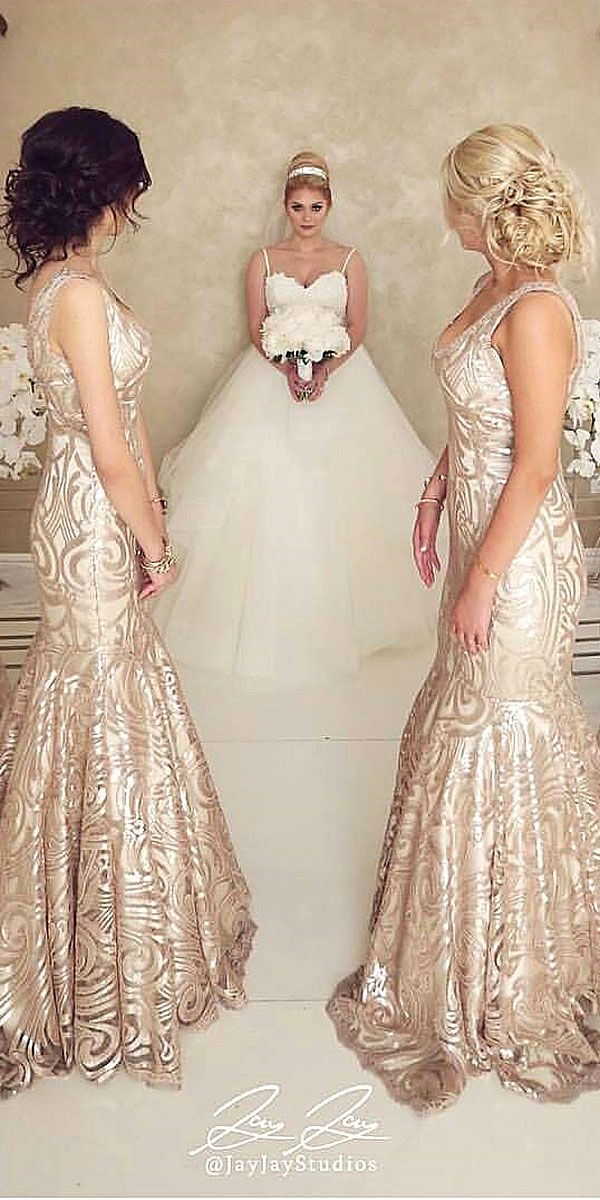 Full On Glitz Sequined And Metallic Bridesmaid Dresses ❤ See more: http://www.weddingforward.com/sequined-metallic-bridesmaid-dresses/ #weddings
