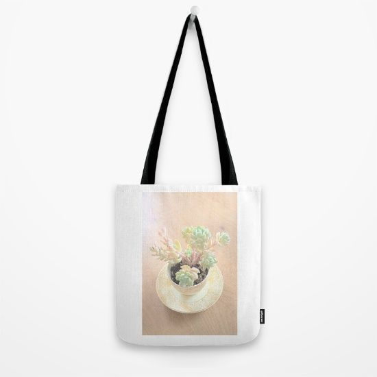 Pretty Tote featuring pastel succulents. #GIftIdeas #Society6