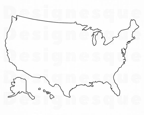 Us Map Outline Svg United States Map Outline Svg Usa Map Etsy Map Outline United States Map Usa Map
