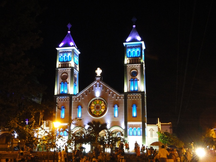 Church in Guamal, Colombia near Christmas time <3