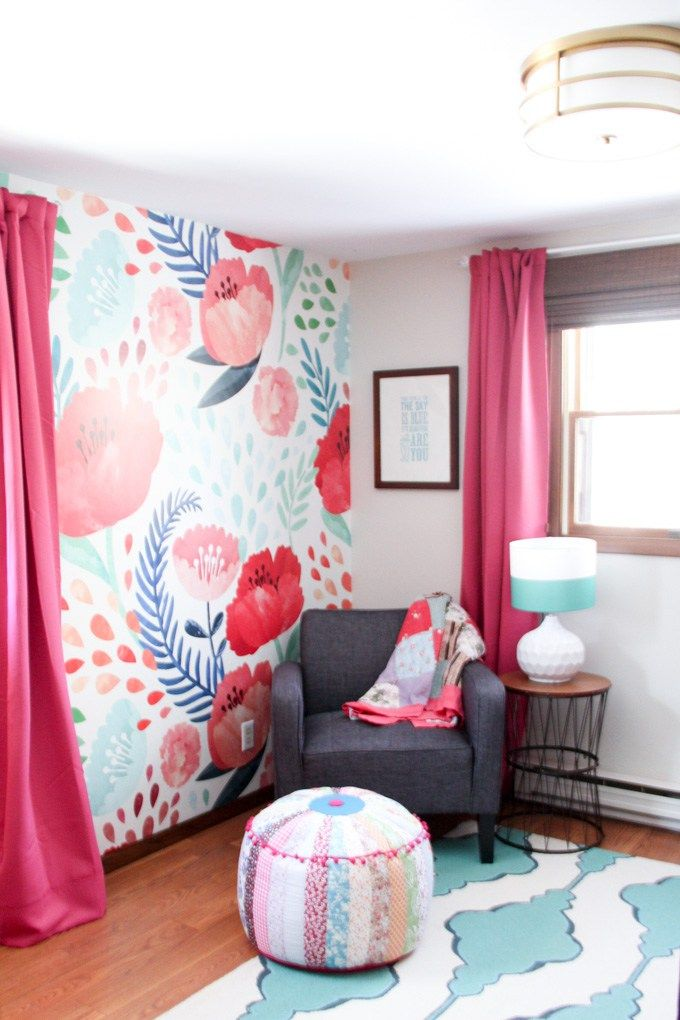 Modern Floral Girls Bedroom