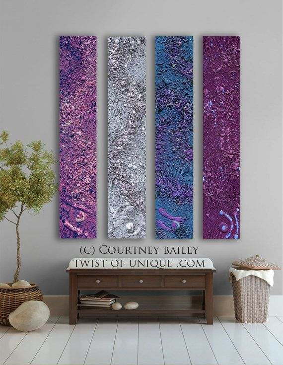 Midnight sky Abstract painting - 4 panel CUSTOM AcryliCrete Wall Art, abstract home decor,- Purple, violet, lavender, wine, mauve,blue. $320.00, via Etsy.