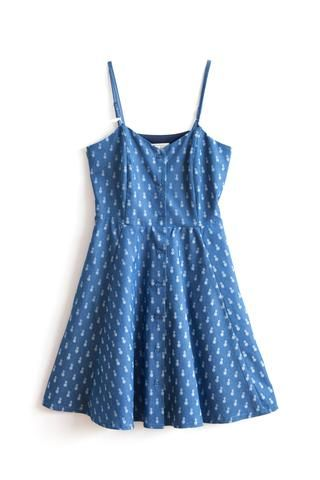 Erin Pineapple Dress by Meemoza.  Circular Dress with Adjustable Spagetti Straps and Pockets. Tailored in Canada. Cotton, Polyester and Spandex. Sustainable and soft as silk.