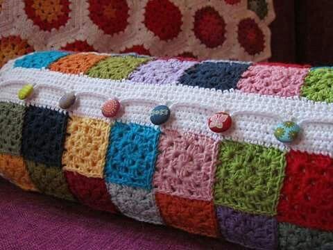 Bolster pillow crochet cover