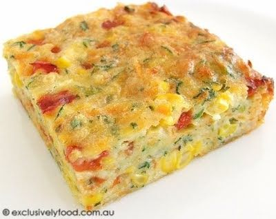 This savoury slice is based on our zucchini slice. We omitted the bacon, reduced the amount of zucchini and added extra vegetables and flav...