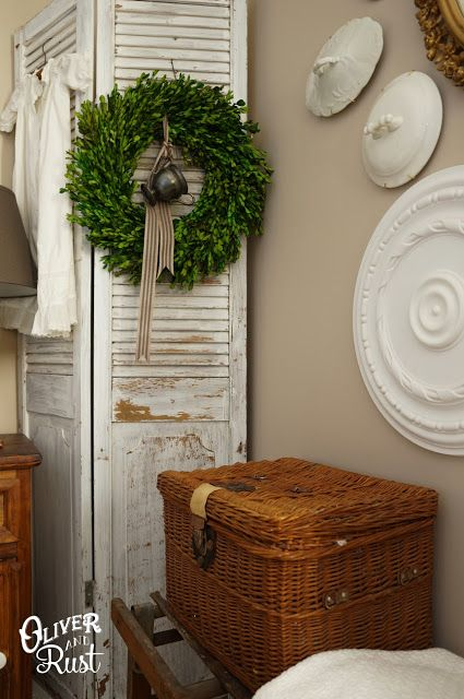 Oliver and Rust: Finding my Patina Style - love the creamer hanging in the boxwood wreath