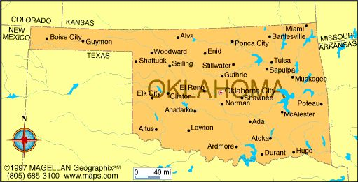 Map of Oklahoma which became a state on November 16, 1907.  It was the 46th state to join the union.  The capital is Oklahoma City.