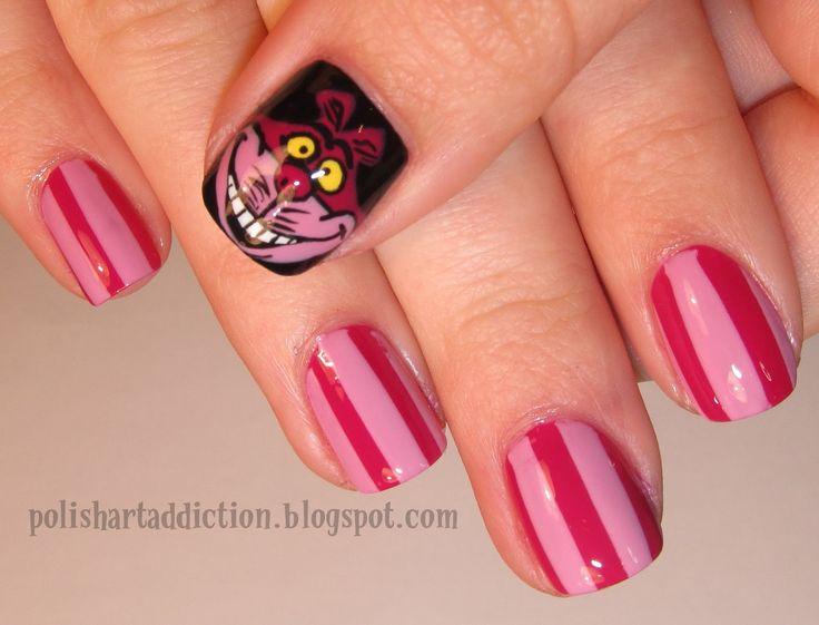 Alice In Wonderland Cat: Polish Art, Chesire Cat, Cheshire Cat, Alice In Wonderland, Artistic Fingernails, Nail Art, 31 Day Challenge