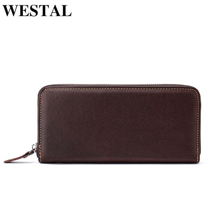 WESTAL Wallet Male Genuine Leather Men's Wallets for Credit Card Holder Clutch M…
