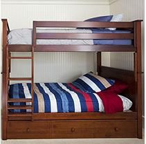 Full Size Bunk Bed with Trundle Bed - Cherry Finish