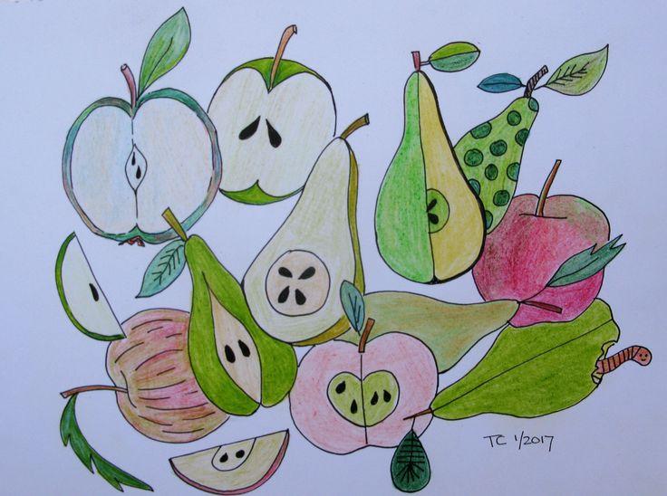 Food illustratie appels en peren gemaakt door Tonny Cooyman