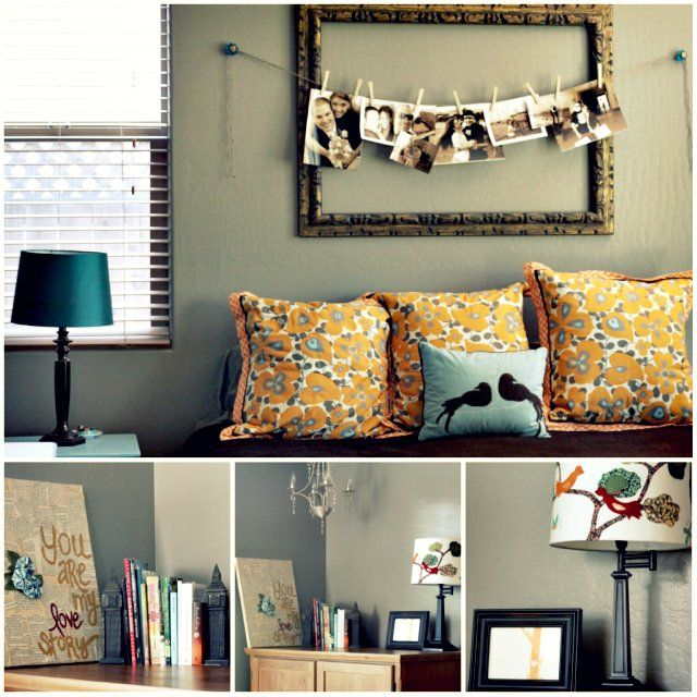 Love the sepia-toned pictures hung across the frame (ends attached to little knobs): Hanging Pictures, Pictures Display, Color, Empty Frames, Cute Ideas, Vintage Frames, Photos Display, A Frames, Pictures Frames