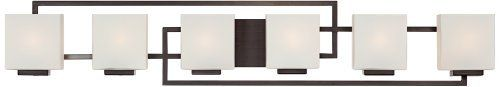 """Lighting on the Square Bronze 45"""" Wide Bath Wall Light by Possini Euro Design. $199.99. This six-light bathroom wall light features sleek lines for a contemporary appeal. The rectangular shades of opal glass are positioned to complement the geometric form of this design. A great modern update your for stylish bath. This is an ADA compliant bath light.. Save 33% Off!"""