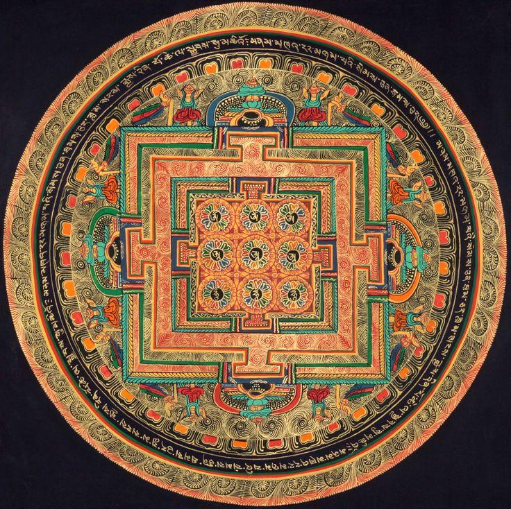 Tibetan thangka painting of Mandala of Syllable Mantra