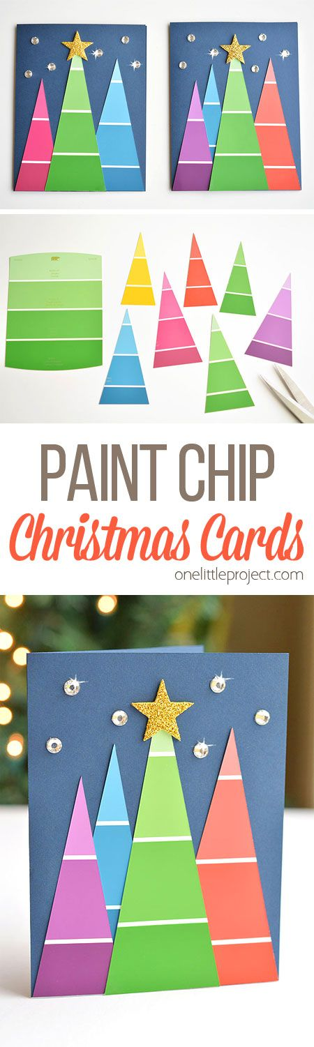 These paint chip Christmas cards are SO BEAUTIFUL and they're really easy to make! They're so simple, but end up looking amazing! Such a great homemade Christmas card idea!