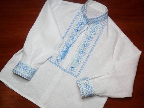 Embroidered shirt for boys White shirt Boy toddler by FediyS