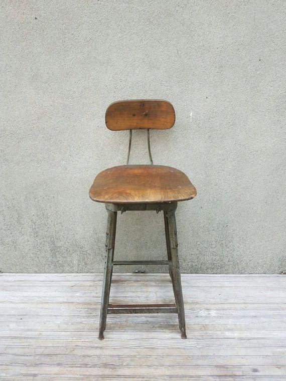 Vintage Industrial Factory Machine Drafting Metal Chair Stool $225