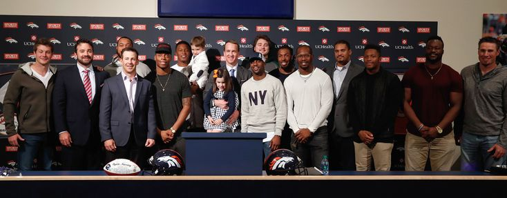 Broncos and Colts teammates turned up for the retirement announcement.