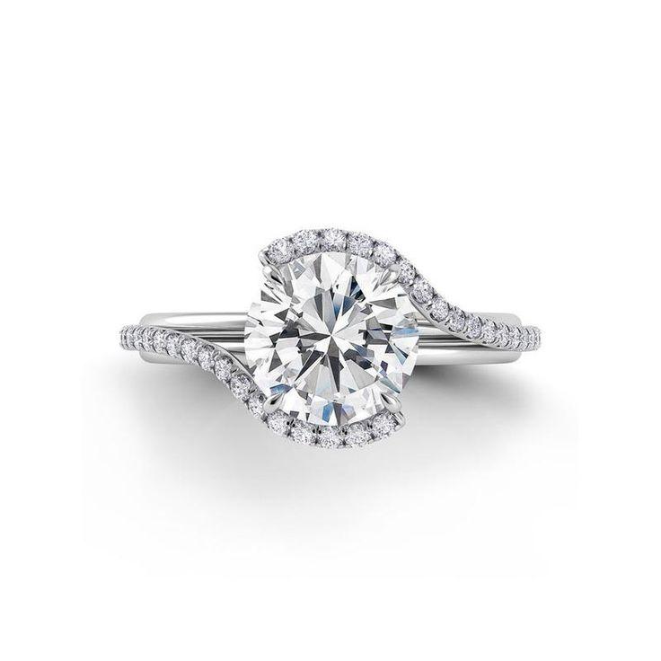 Danhov Abbraccio diamond swirl engagement ring   Top View