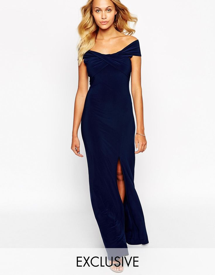 Love Off Shoulder Wrap Maxi Dress with Thigh Split