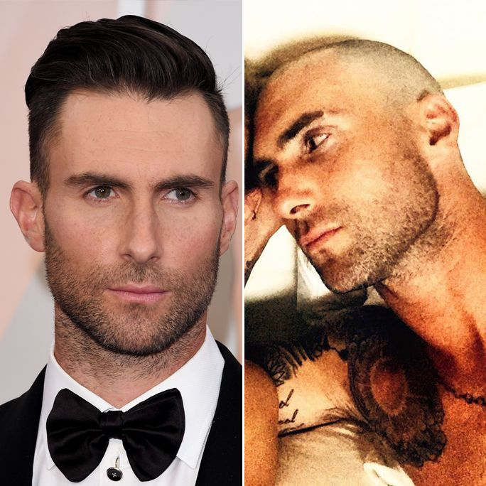 Adam Levine shaved his head and he looks sexy, of course.