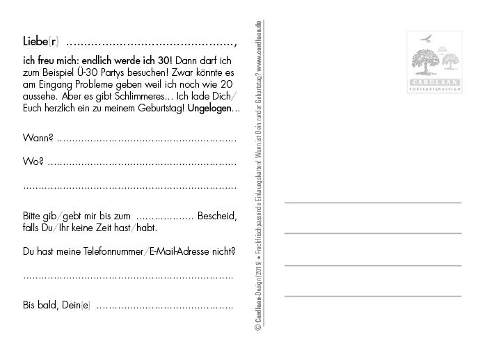 Einladung 30. Geburtstag (Pinoccio)