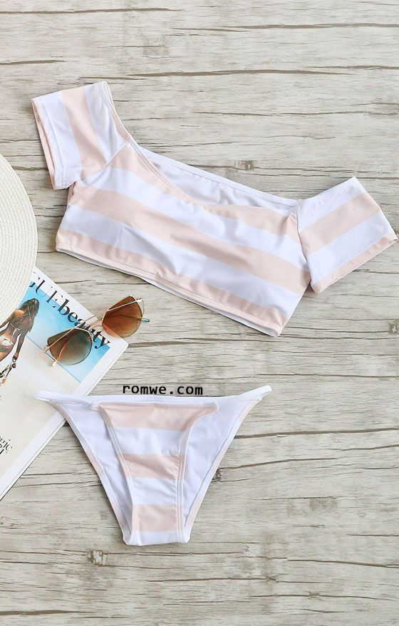 Striped Off The Shoulder Bikini Set