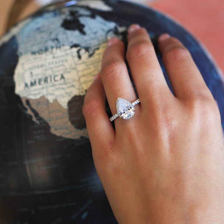 This pear-shaped engagement ring is such a beauty! We're loving all the pear-shaped options on HowHeAsked's ring finder right now.