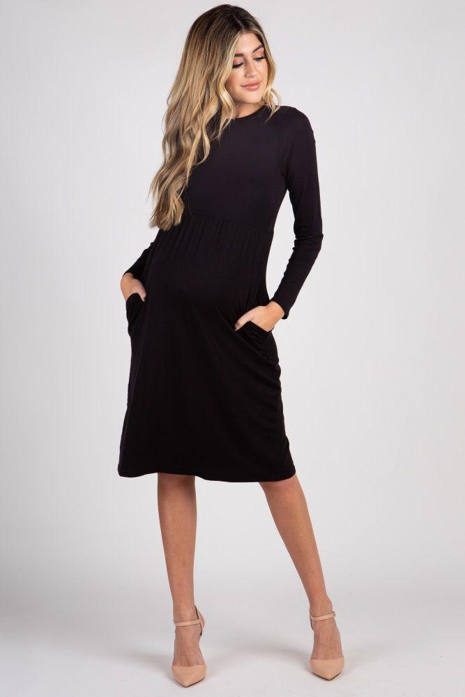 753fa2cb90c40 Black Solid Maternity Dress | Maternity style | Black long sleeve ...
