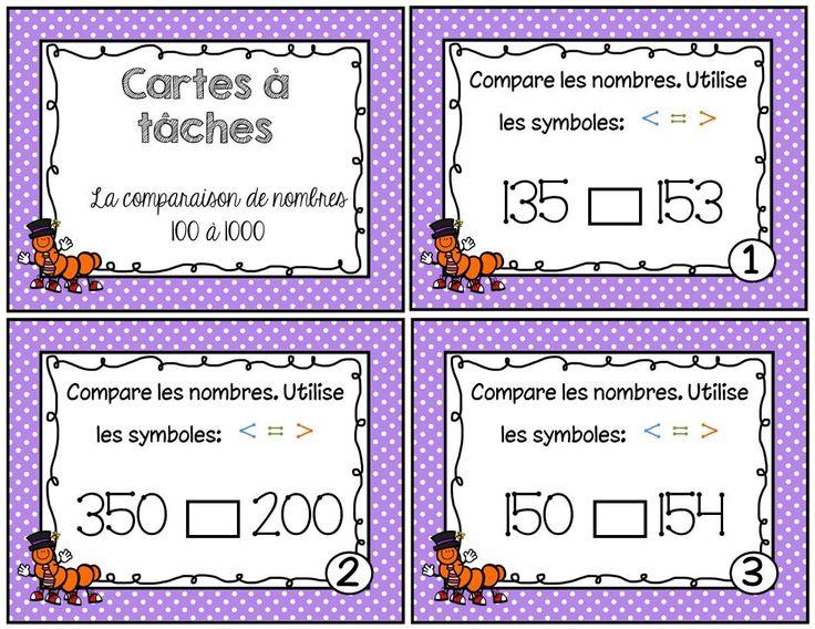 Voici un ensemble de 27 cartes à tâches sur la comparaison des nombres de 100 à 1000. Le document comprend: - 27 cartes à tâches - Une feuille réponse pour l'élève - Le corrigé en 2 formats différents