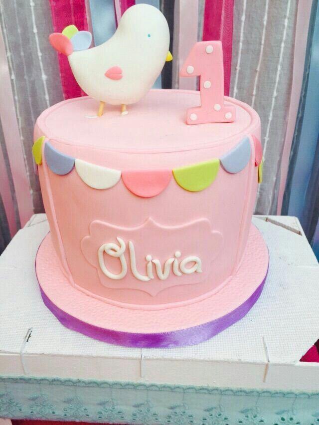 Tarta de chocolate y crema de fresas para celebrar el primer cumpleaños de Olivia!