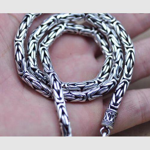"4-8 mm Men's Fine Silver Byzantine Chain 18""-24"""