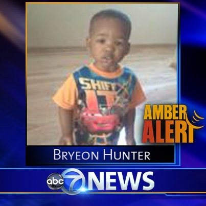 PLEASE HELP!!!!! PLEASE HELP!!!!! AMBER ALERT: Police have issued an Amber Alert for Bryeon Hunter, a 1-year-old boy taken from 6th and Main in Maywood.  The child was apparently taken by three male Hispanics.  The African-American boy is two feet tall and 30 pounds. He was wearing a two-tone, blue stripe long-sleeved shirt, jeans, and brown Nike boots.  PLEASE RE-PIN to get the word out and to help find this little boy.