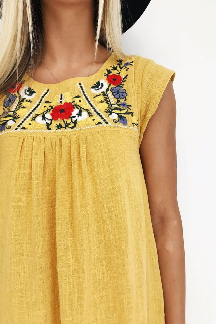 Mustard Embroidered Floral Dress | ROOLEE