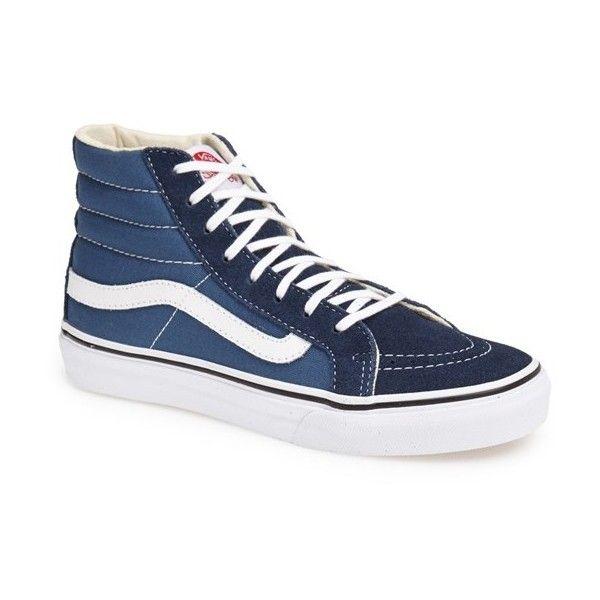 Women's Vans 'sk8-Hi Slim' Sneaker ($65) ❤ liked on Polyvore featuring shoes, sneakers, vans shoes, slim shoes, vans trainers, vans sneakers and vans footwear
