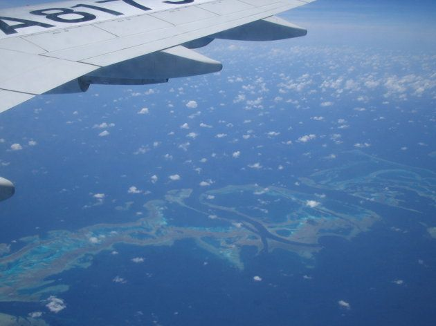 The Great Barrier Reef as seen from the air