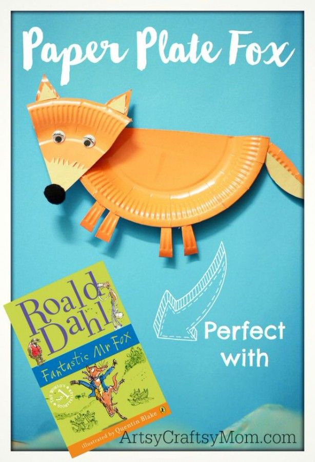 Paper Plate Mr Fox - roald dahl craft - Have fun celebrating Roald Dahl Day - Lots of Crafts, Books, and Free Downloadable PDFs - paper plate fox, willy wonka chocolates , giant peach and more