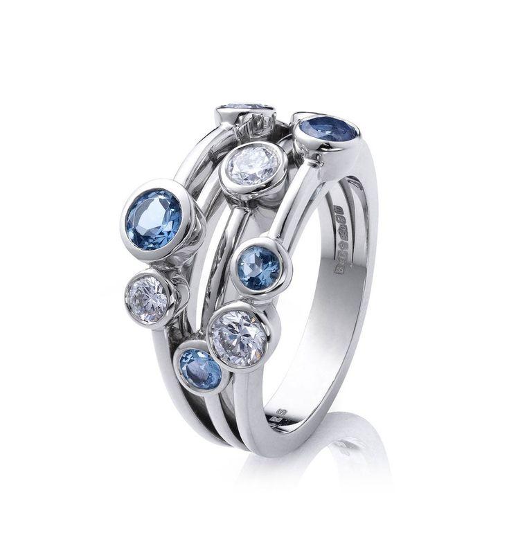 Raindance Classic Aquamarine Ring. In platinum with aquamarines and diamonds