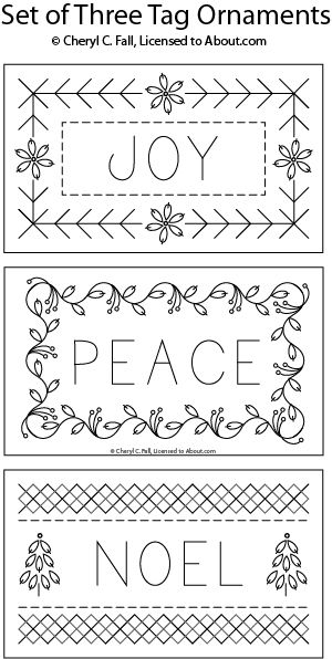 These fun little ornaments are shaped like gift tags and can be stitched using a variety of surface embroidery stitches. You can finish them as ornaments for the tree, or as gift tags - even as holiday name tags.  Refer to the stitch key for suggested stitches to use when working this hand embroidery pattern.