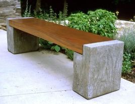 Bench concrete and wood