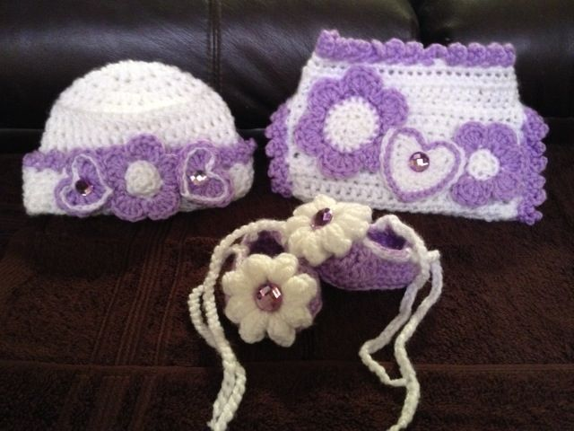 Hearts and Flowers Baby Hat, Diaper Cover and Booties Original Design from Kats Hats