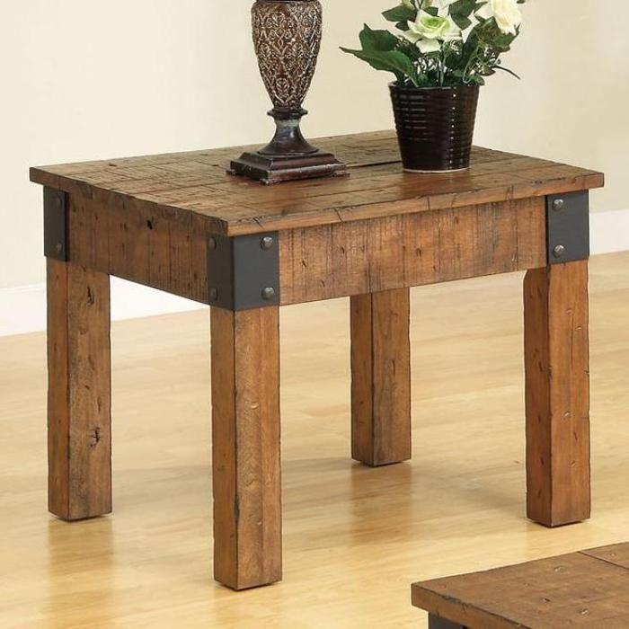 Antique Style Wood End Table With Decorative Metal Bracketsu2014Buy Now!